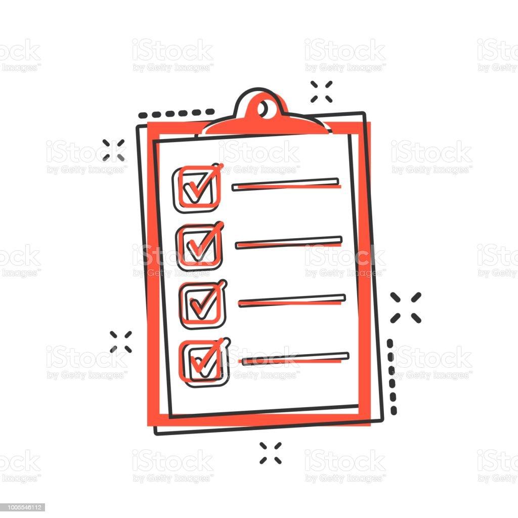 vector cartoon to do list icon in comic style checklist task list