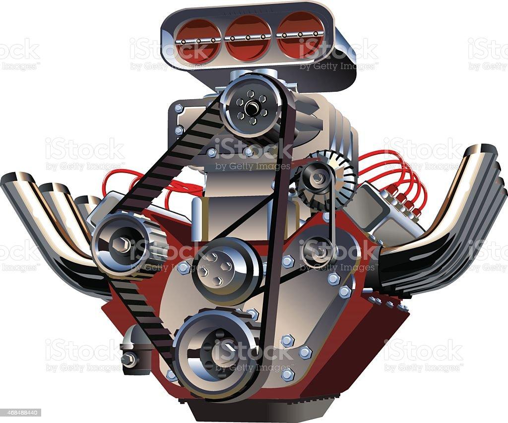 Vector Cartoon Turbo Engine vector art illustration