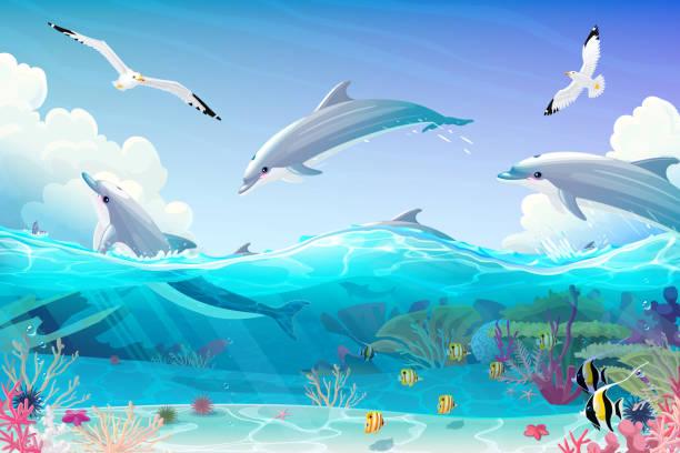 vector cartoon underwater sea clipart vector cartoon underwater sea, dolphins nautical clipart dolphin stock illustrations