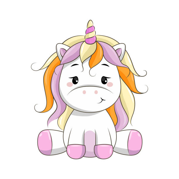 vector cartoon unicorn. - pony stock illustrations