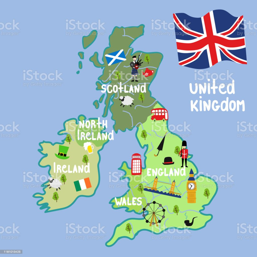 Picture of: Vector Cartoon United Kingdom Map National Symbols Stock Illustration Download Image Now Istock