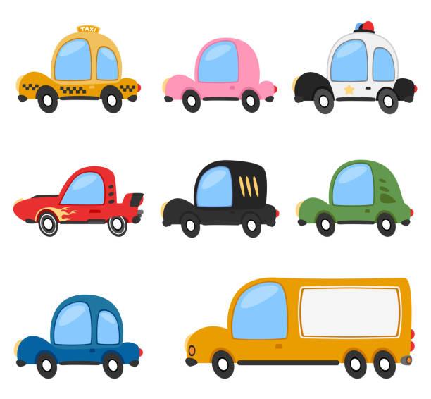 stockillustraties, clipart, cartoons en iconen met vector cartoon voertuig vervoer set - airport pickup