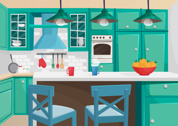 Vector Cartoon volumetric illustration of cozy vintage retro kitchen interior. Vector cartoon volumetric illustration of cozy vintage retro kitchen interior kitchen stock illustrations