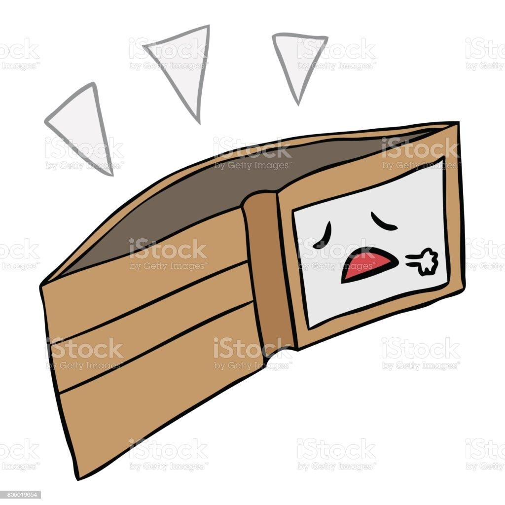 vetor desenhos animados carteira vazia isolada - Vetor de Aberto royalty-free