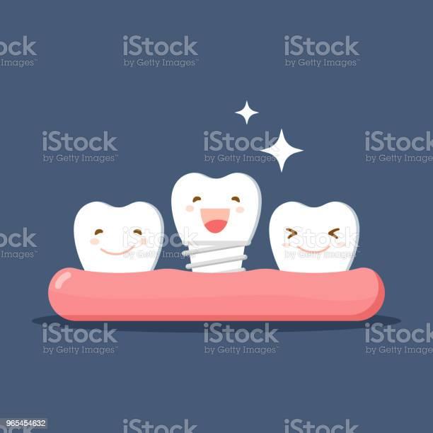Wektor Kreskówki Białe Zęby Zadowolony Z Protezy Lub Implantu Dentystycznego Przywrócenie W Jamie Ustnej Płaska Ilustracja Na Temat Stomatologii Izolowany Wektor - Stockowe grafiki wektorowe i więcej obrazów Proteza stomatologiczna