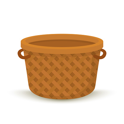 Vector cartoon wicker basket, container for picnic