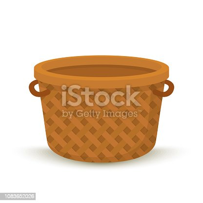 Vector brown wicker basket for food, empty container for picnic. Woven from cane bag with handles.