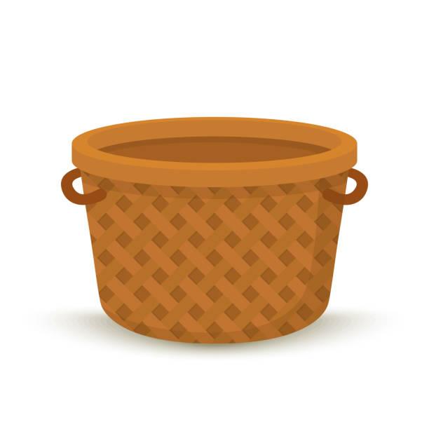 vector cartoon wicker basket, container for picnic - kosz stock illustrations