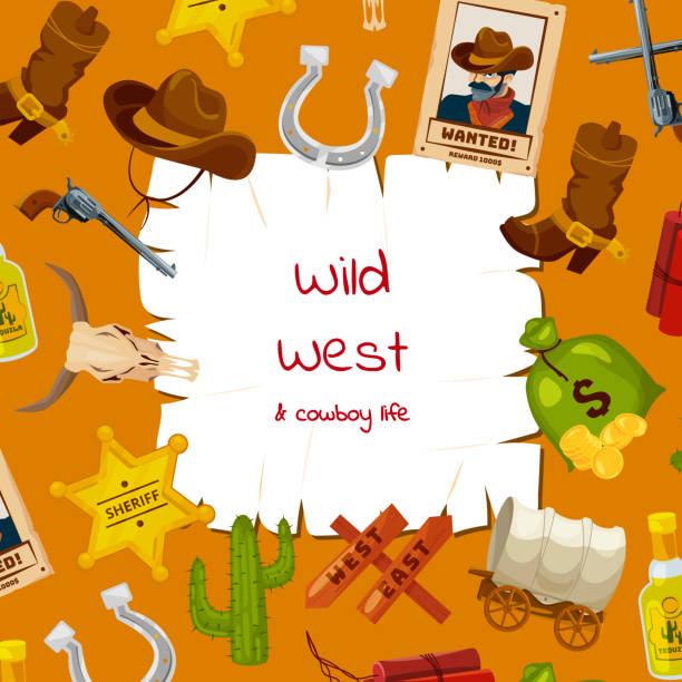 wild west vektorelemente cartoon hintergrund mit platz für text illustration - türposter stock-grafiken, -clipart, -cartoons und -symbole