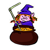 funny witch swine with hat for avatar, stickers and logo