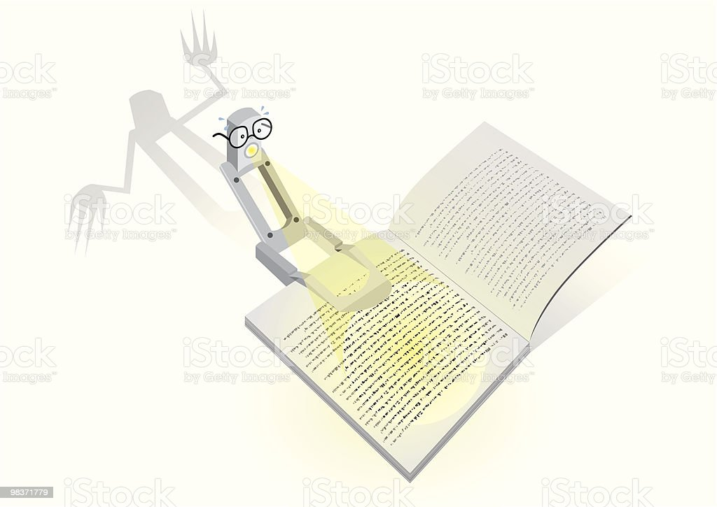 Vector cartoon with a reading lamp and scary book royalty-free vector cartoon with a reading lamp and scary book stock vector art & more images of book
