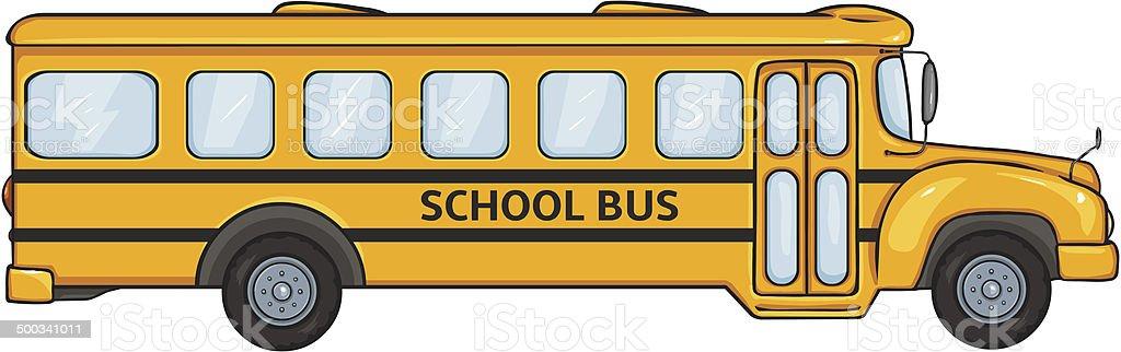 vector cartoon yellow school bus side view stock vector