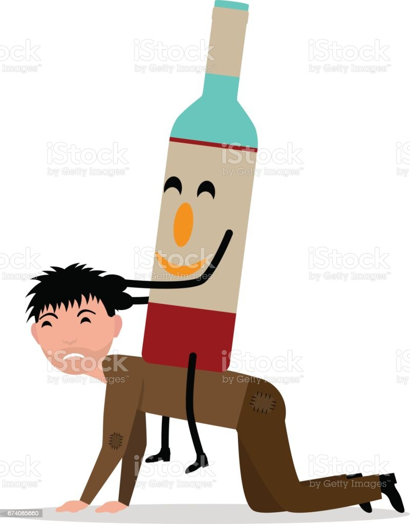 Vector cartoon young adult man with bottle alcohol royalty-free vector cartoon young adult man with bottle alcohol stock vector art & more images of addiction