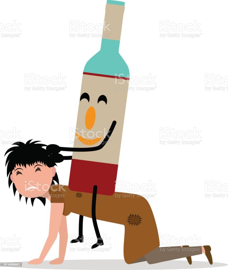 Vector cartoon young adult woman bottle alcohol royalty-free vector cartoon young adult woman bottle alcohol stock vector art & more images of addiction