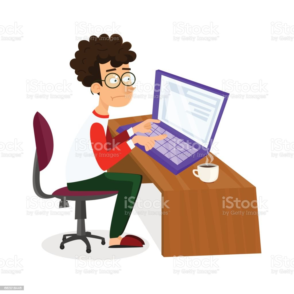 Vector cartoon young programmer man is working with laptop. EPS10 illustration of student studying process or search of work sitting at home vector art illustration