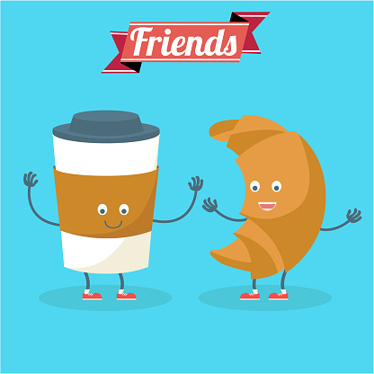 Vector cartoons of comic characters coffee and croissant. Friends forever. Breakfast
