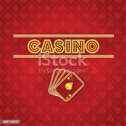 Vector gambling composition for advertising goals, with glowing text and cards symbol, with place for text, on the seamless card suit pattern background. Transparency, 10 EPS.