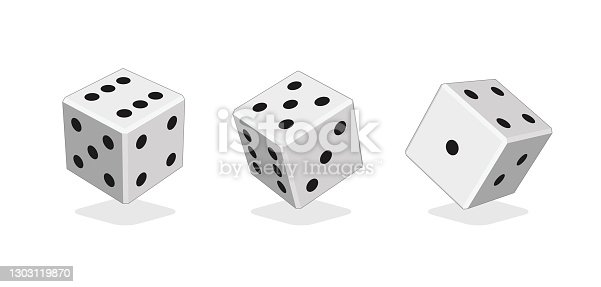 istock Vector Casino Dice Set of Authentic Icons. Color Poker Cubes Isolated on White Background. 1303119870