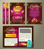 Vector casino flyer, cartoon banner, background with vintage emblem in form of scoreboard slot machine, gaming roulette and space for your text. Poster for advertising casino, night club