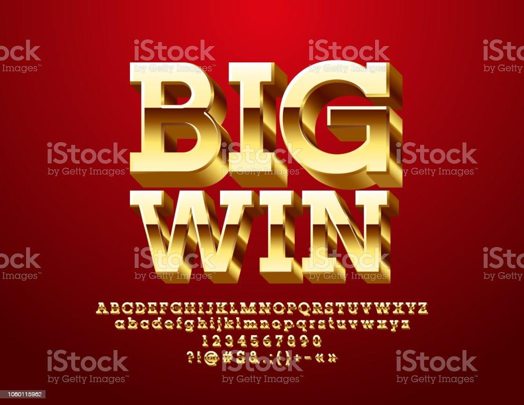 Vector Casino Icon Big Win With Golden 3d Font - Immagini