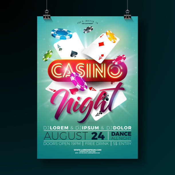 Vector Casino night flyer illustration with gambling design elements and shiny neon light lettering on green background. Luxury invitation poster template. Vector Casino night flyer illustration with gambling design elements and shiny neon light lettering on green background. Luxury invitation poster template casino stock illustrations