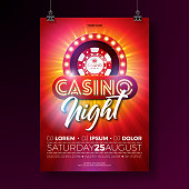 Vector Casino night flyer illustration with gambling design elements and shiny neon light lettering on red background. Luxury invitation poster template
