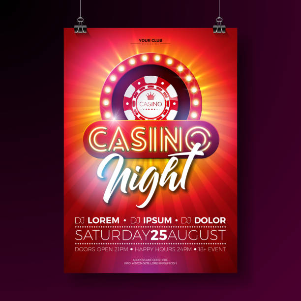 Vector Casino night flyer illustration with gambling design elements and shiny neon light lettering on red background. Luxury invitation poster template. Vector Casino night flyer illustration with gambling design elements and shiny neon light lettering on red background. Luxury invitation poster template casino stock illustrations