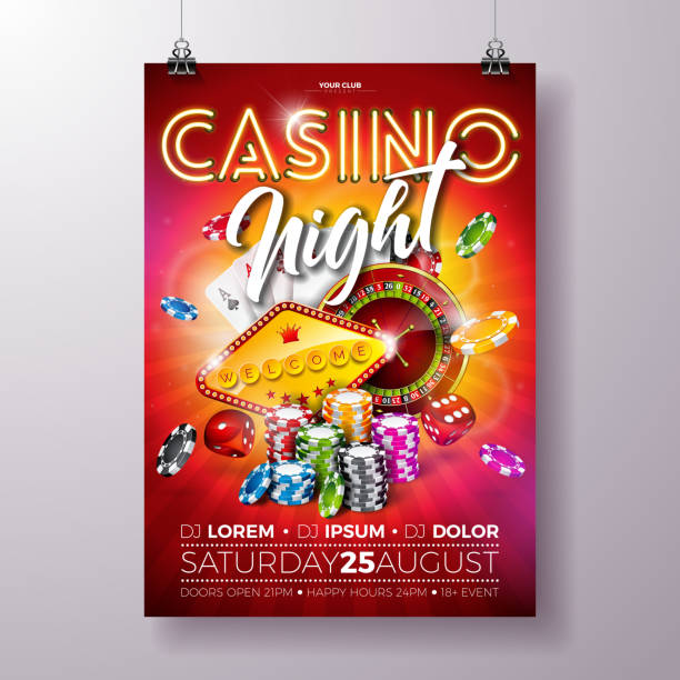Vector Casino night flyer illustration with roulette wheel and shiny neon light lettering on red background. Luxury gambling invitation poster template design concept. Vector Casino night flyer illustration with roulette wheel and shiny neon light lettering on red background. Luxury gambling invitation poster template design concept casino stock illustrations