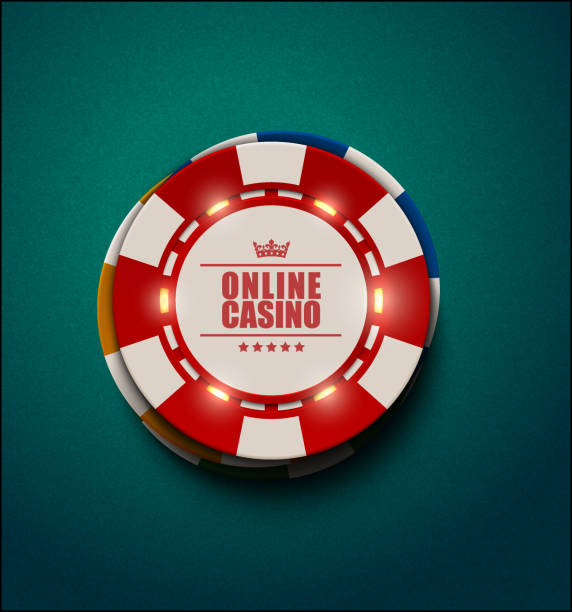 Vector casino poker chips with luminous light elements, top view. Blue green textured background. Online casino, blackjack poster, eps 10 illustration. Casino poker vector illustration gambling chip stock illustrations