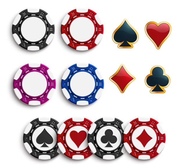 Vector casino poker gambling chips icons Casino poker chips or gambling tokens with playing cards suits. Vector isolated poker game chips with hearts, spades or diamonds and clubs suit for online casino poker slot machine or internet bets gambling chip stock illustrations