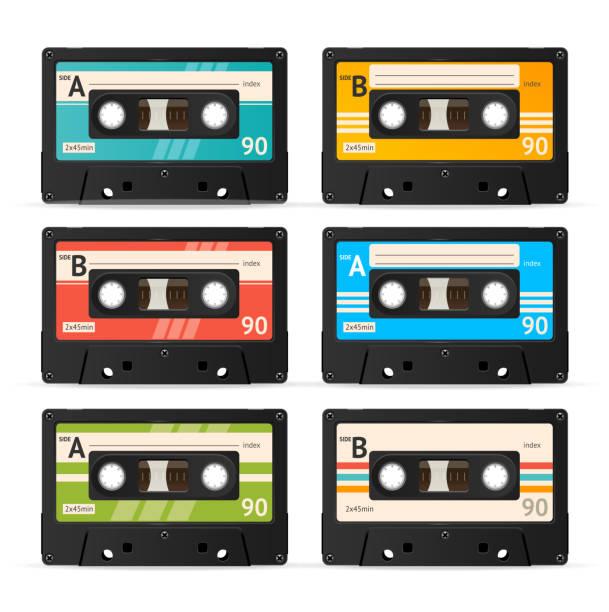 ilustrações, clipart, desenhos animados e ícones de coleção de vetor de fita cassete - fita cassete