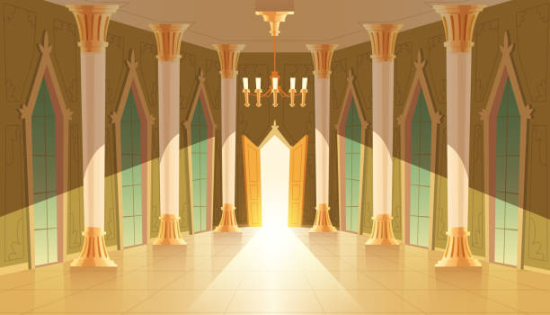 vektor schlosssaal, innen der royal ballsaal - ballsäle stock-grafiken, -clipart, -cartoons und -symbole