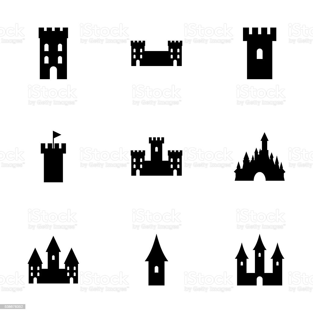 Vector castle icon set vector art illustration