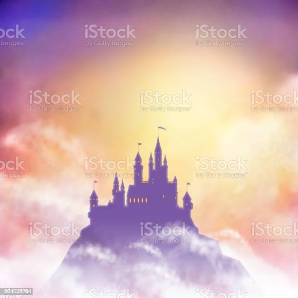 Vector castle silhouette on the hill against rising sun background.