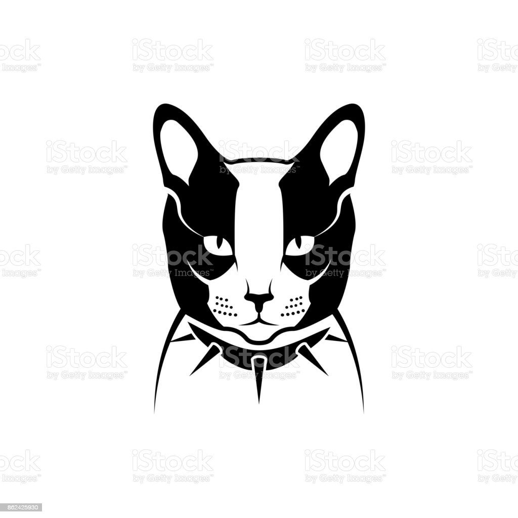 Vector Cat Head Face For Retro Hipster Symbols Emblems Badges Labels