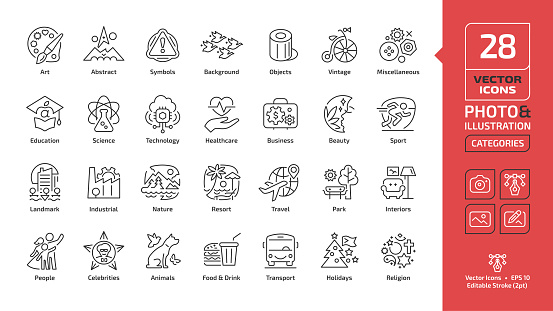 Vector category and theme editable stroke line icon for photo and illustration with people, celebrities, animals, wildlife, food, drink, transport, holidays, religion thin outline sections sign