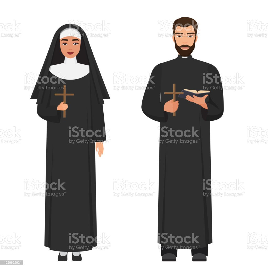 ベクトルのカトリックの司祭と修...