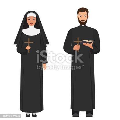 Vector Catholic priest and nun holding cross rood. Flat cartoon vector illustration.