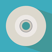Vector CD flat icon - compact disc with shadow