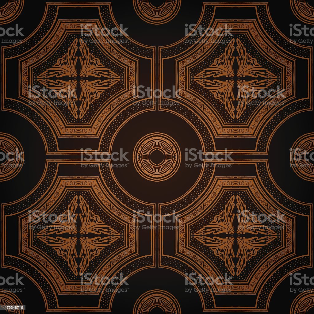 Vector ceiling tile seamless vintage decorative black vector art illustration