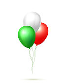 Realistic celebration balloon. Cinco de mayo mexican holiday, green white red colored air ballon group 3d Birthday party anniversary invitation card design element Festive vector isolated illustration