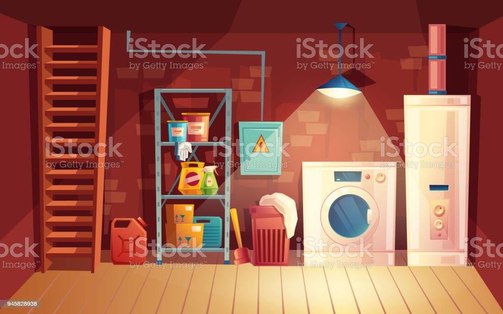 Vector cellar interior, cartoon laundry in basement