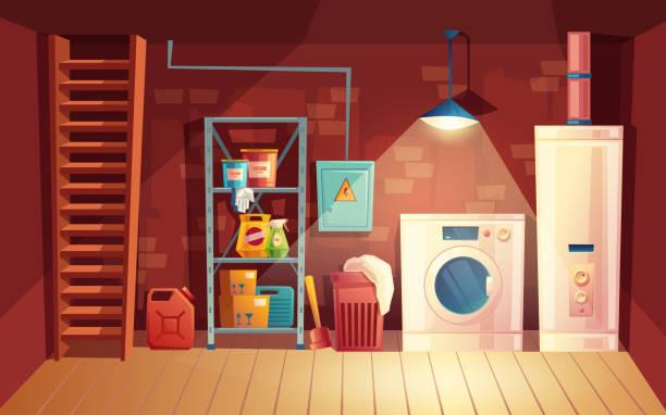 stockillustraties, clipart, cartoons en iconen met vector kelder interieur, cartoon wasserij in kelder - opslagruimte