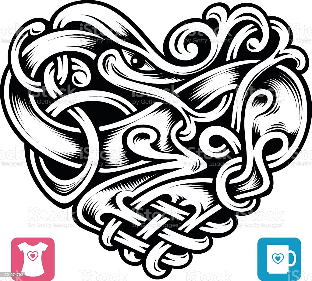 Vector celtic pattern in the shape of heart vector art illustration