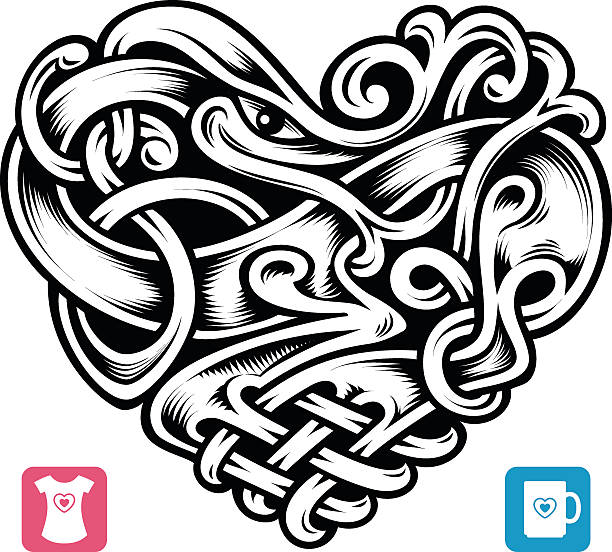 vector celtic pattern in the shape of heart - celtic tattoos stock illustrations, clip art, cartoons, & icons