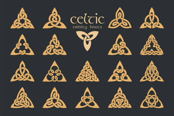 Vector celtic trinity knot. 18 items. Ethnic ornament. Geometric Vector celtic trinity knot. 18 items. Ethnic ornament. Geometric design. Vector illustration set celtic knot stock illustrations