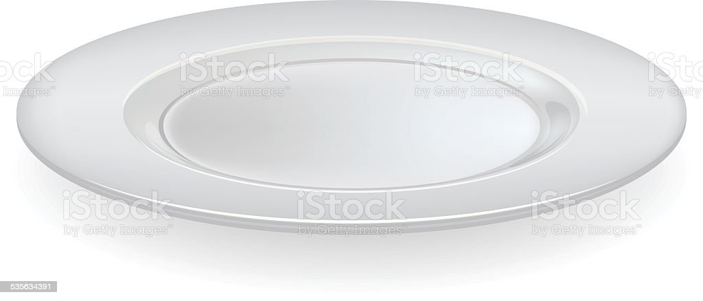 Vector ceramic plate on a white background. vector art illustration