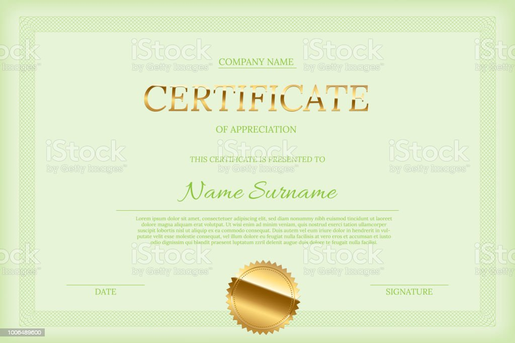 Vector Certificate Design Template Golden Certificate Word With Seal Green Text And Guilloche Border On Green Background Stock Illustration Download