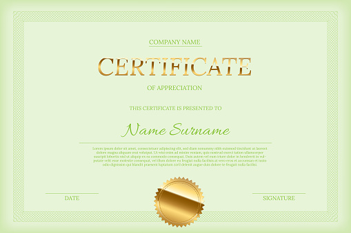 Vector Certificate Design Template Golden Certificate Word With Seal Green Text And Guilloche Border On Green Background стоковая векторная графика