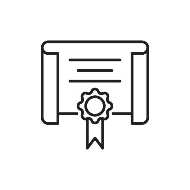 Vector certificate icon. Achievement or award grant, diploma concepts. Premium quality graphic design elements. stock illustration Vector certificate icon. Achievement or award grant, diploma concepts. Premium quality graphic design elements. stock illustration qualification round stock illustrations